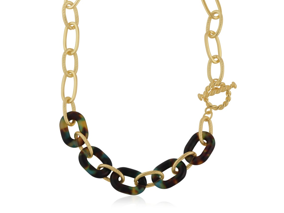 Amy Matte Resin Chain Necklace – Blue/Yellow/Brown
