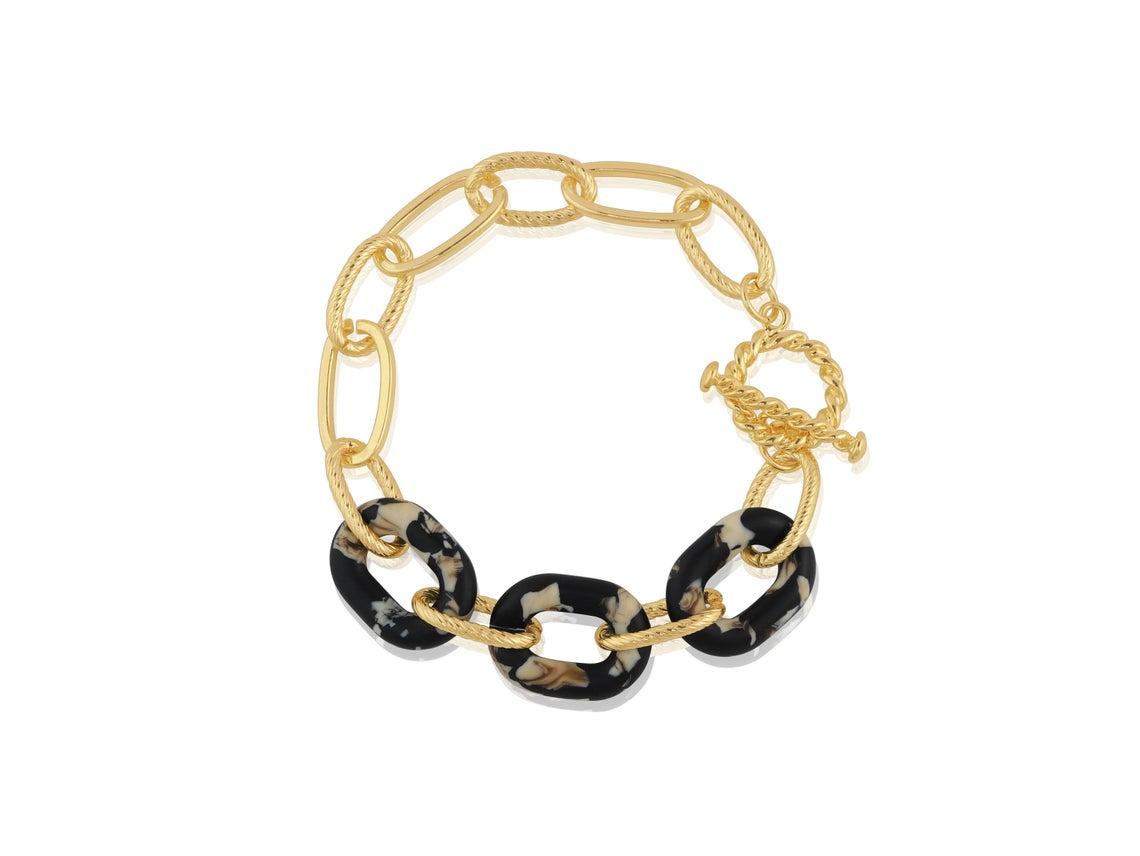 Amy Matte Resin Chunky Bracelet – Beige/Brown/Black