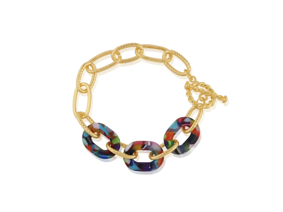 Amy Matte Resin Chunky Bracelet – Red/Orange/Lilac