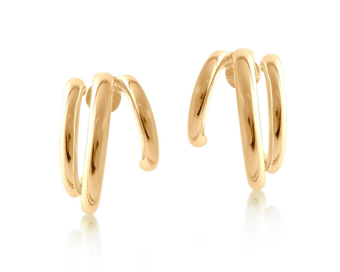 Enola Tubular Plated Hoop Earrings – Gold