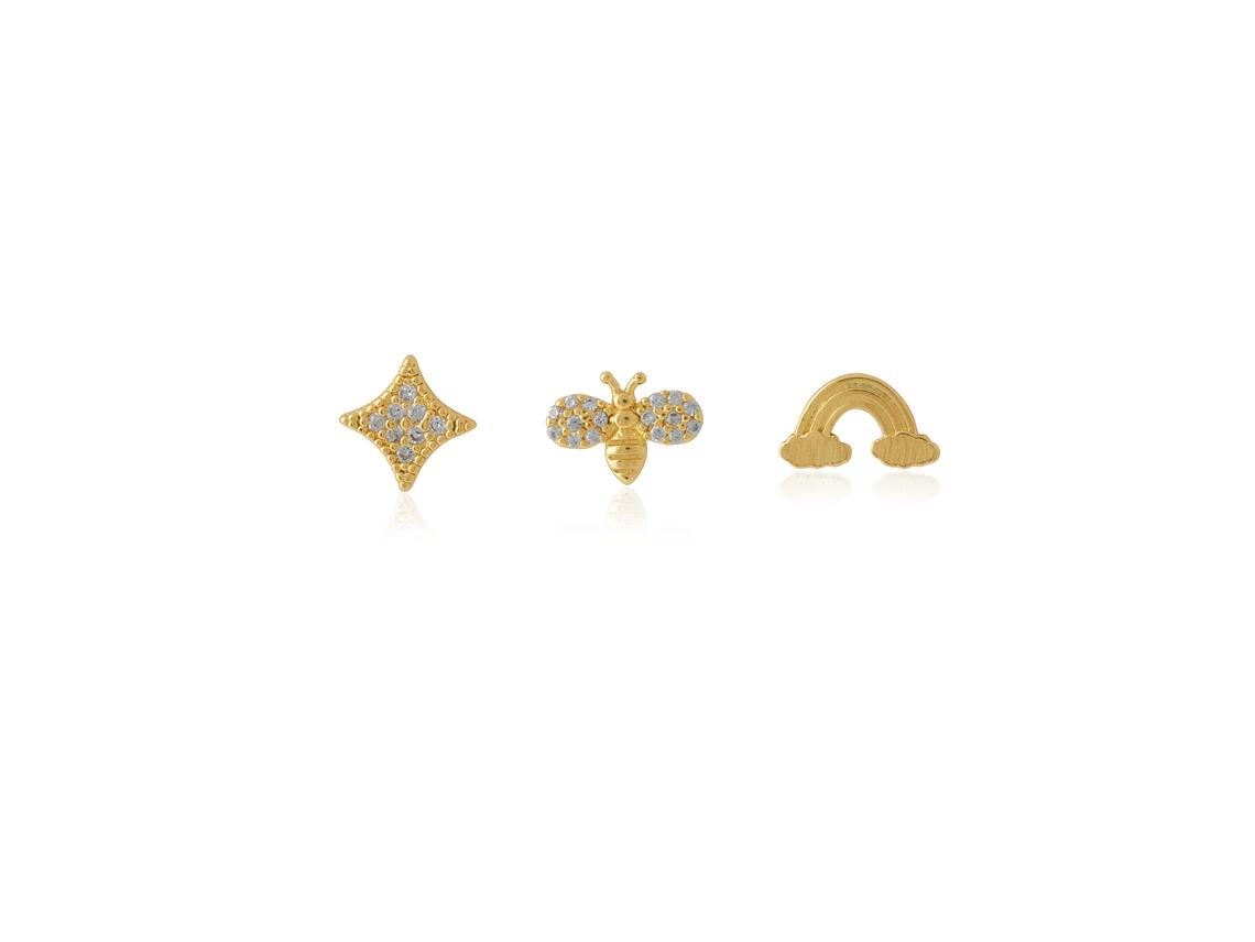 Ivette Mixed Pack Of Studs – Gold