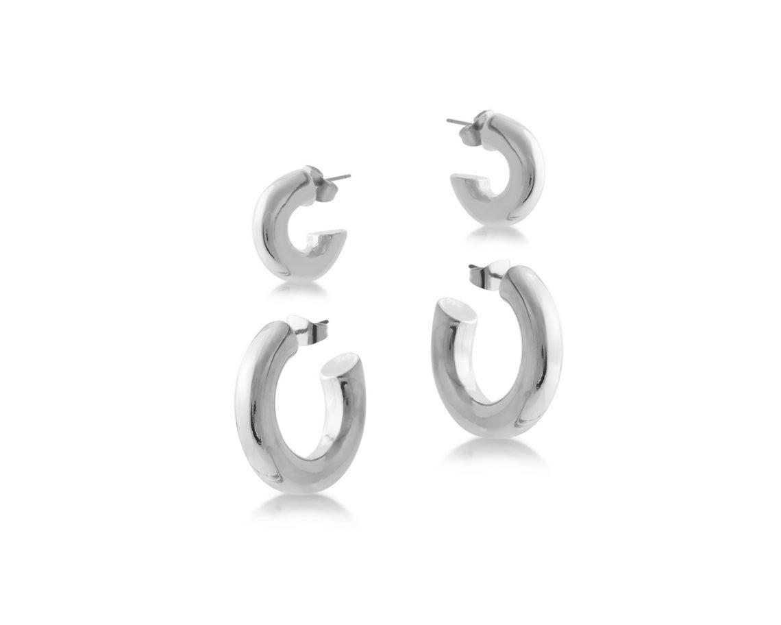 Leonie Pack Of 2 Chunky Hoop Earrings – Silver