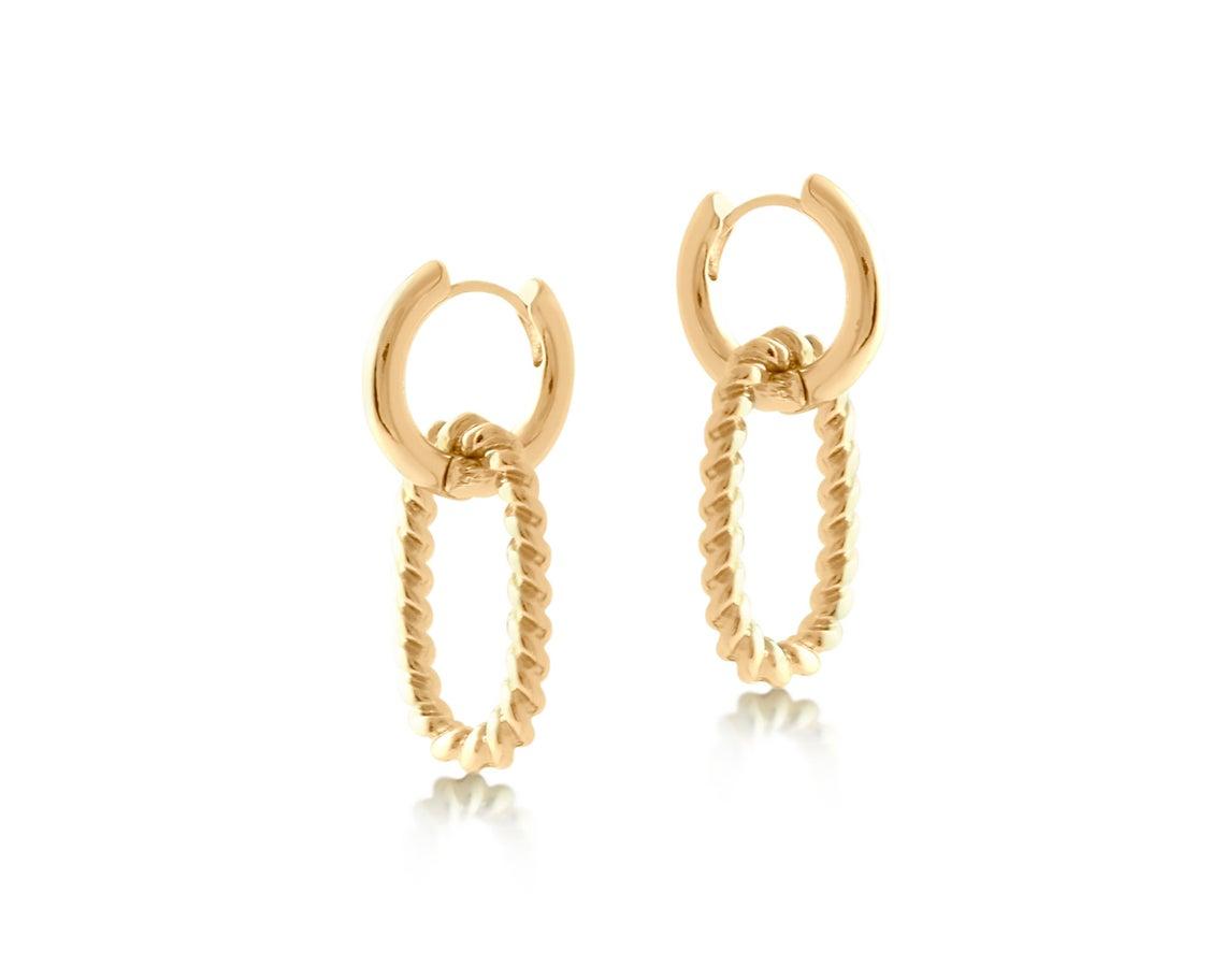 Rachel Rope Hoop Earrings – Gold