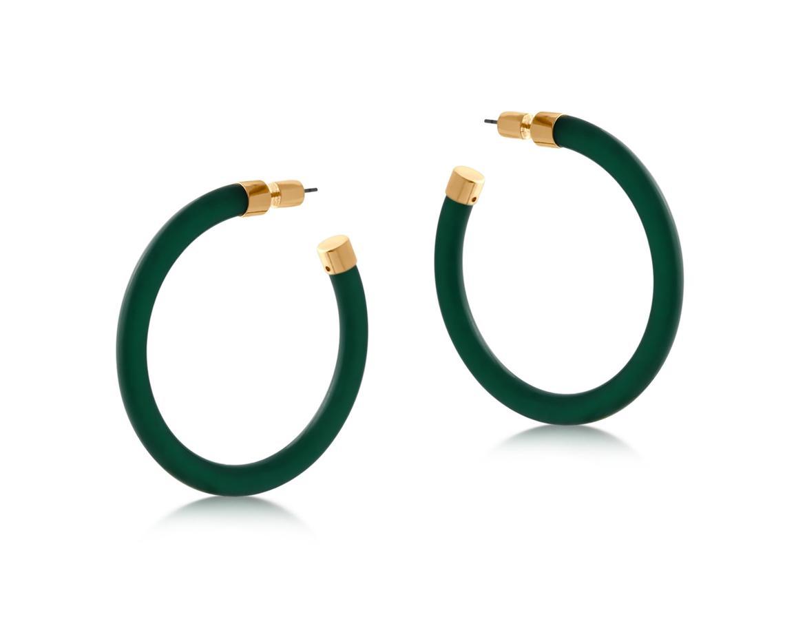 Isabella Resin and Metal Hoop Earrings – Green