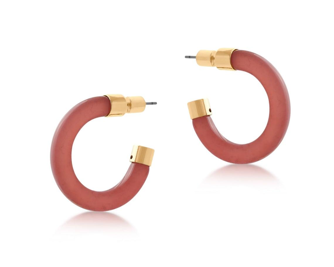 Elle Resin and Metal Hoop Earrings – Pink