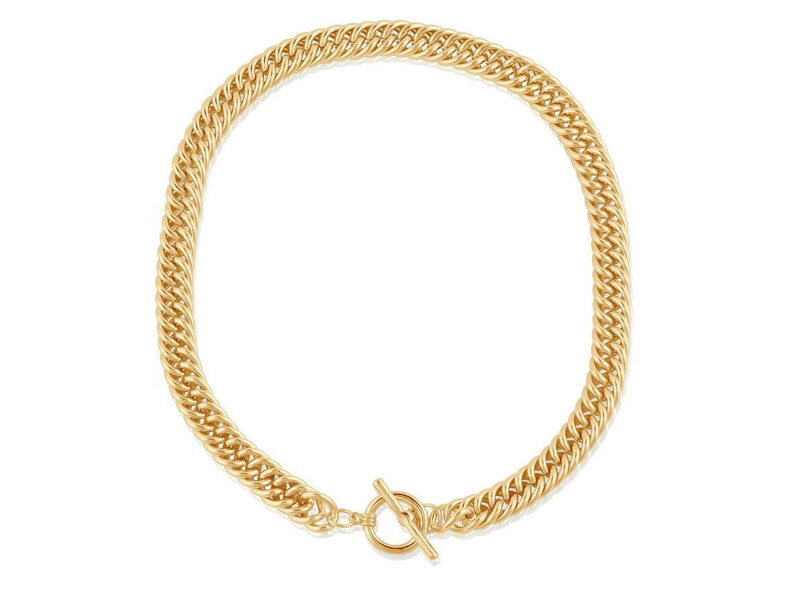 Molly Curb Chain Statement Tbar Necklace – Gold