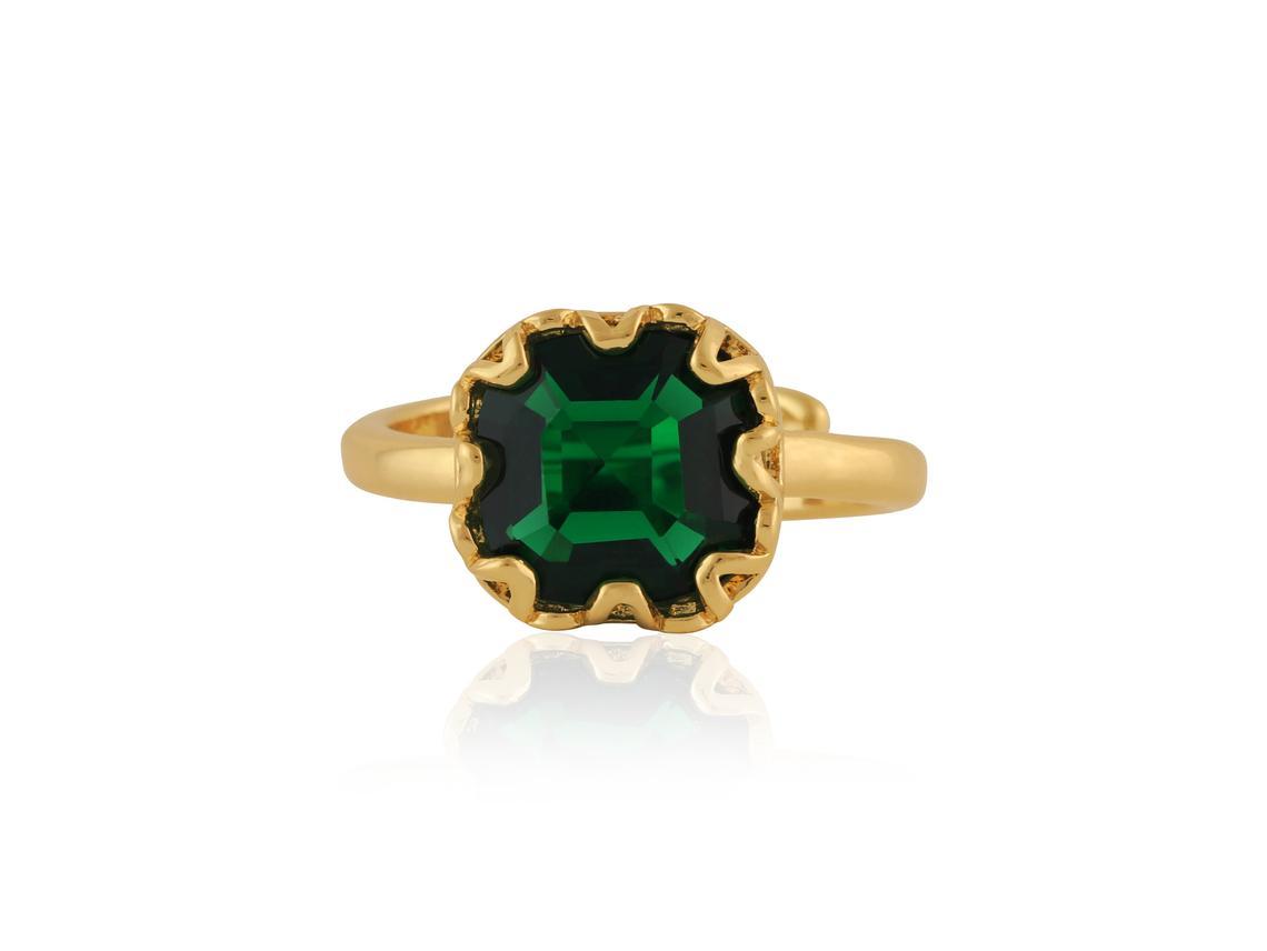 Adrian Square Gem Adjustable Ring – Gold/Emerald