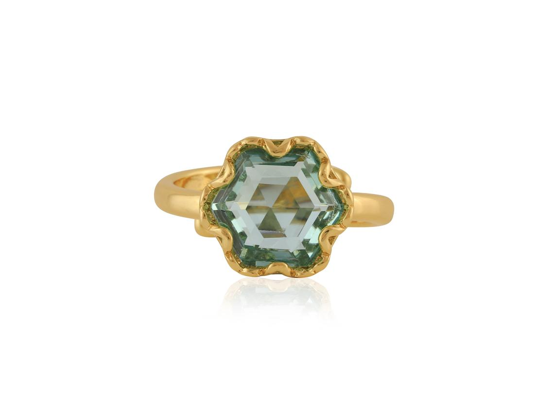 Fiona Hexagon Shape Gem Adjustable Ring – Gold/Blue