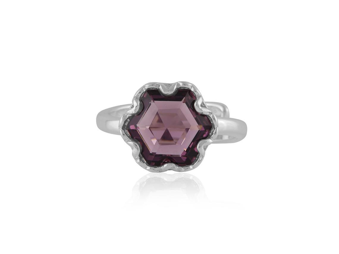 Fiona Hexagon Shape Gem Adjustable Ring – Silver/Amythyst