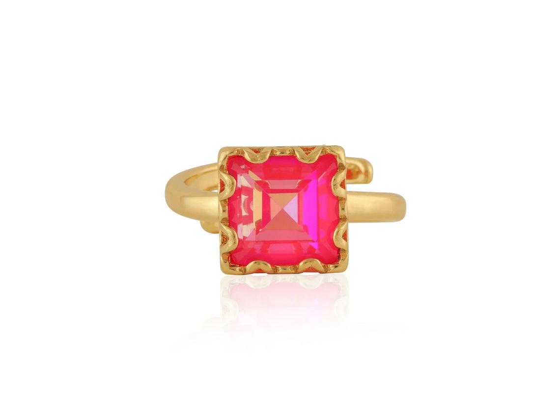 Sienna Sqare Gem Adjustable Ringle Ring – Gold/Pink