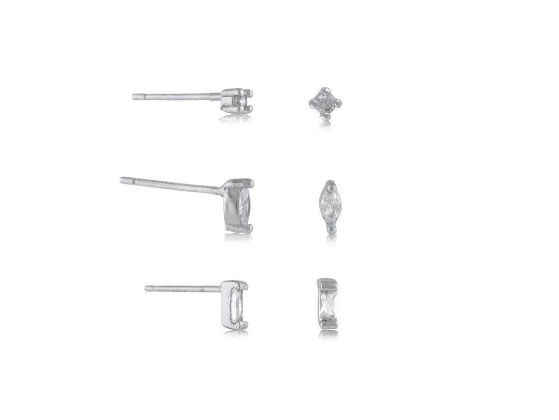 Giselle Pack Of 3 Demi Fine Stud Earrings – Silver