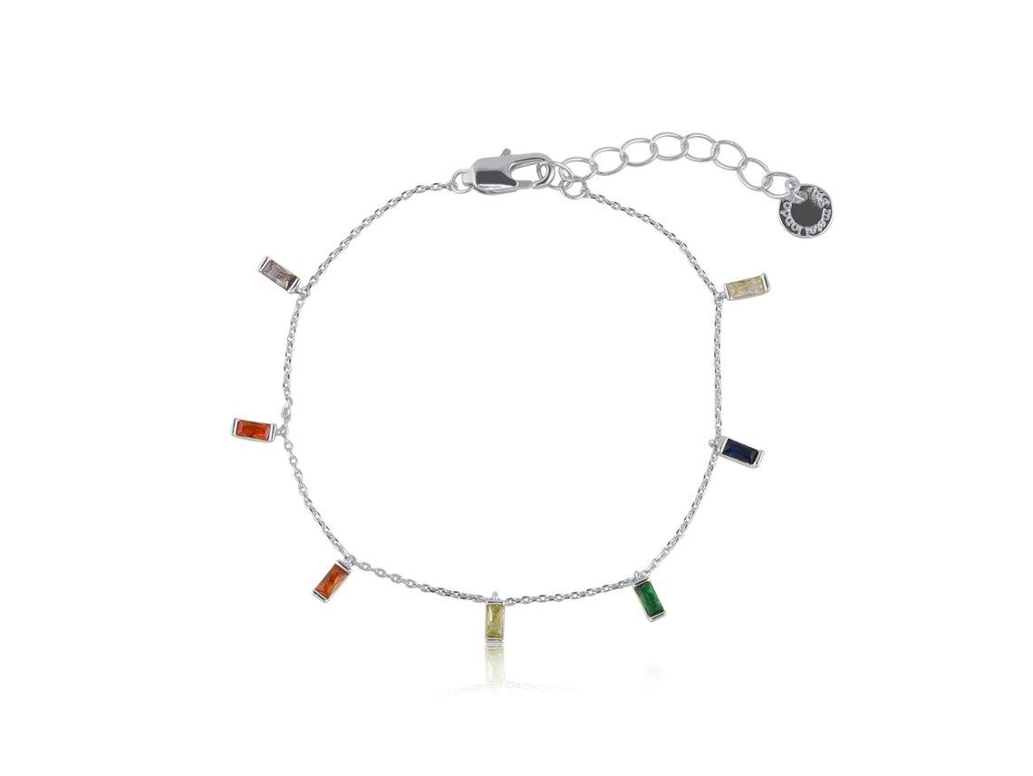 Iris Rainbow Baguette Stones Delicate Bracelet – Silver