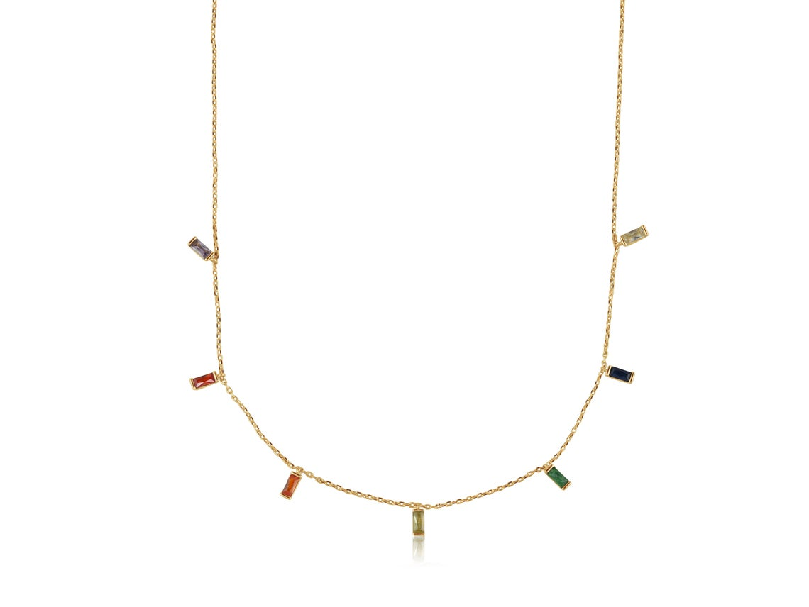 Iris Rainbow Baguette Stones Delicate Necklace – Gold