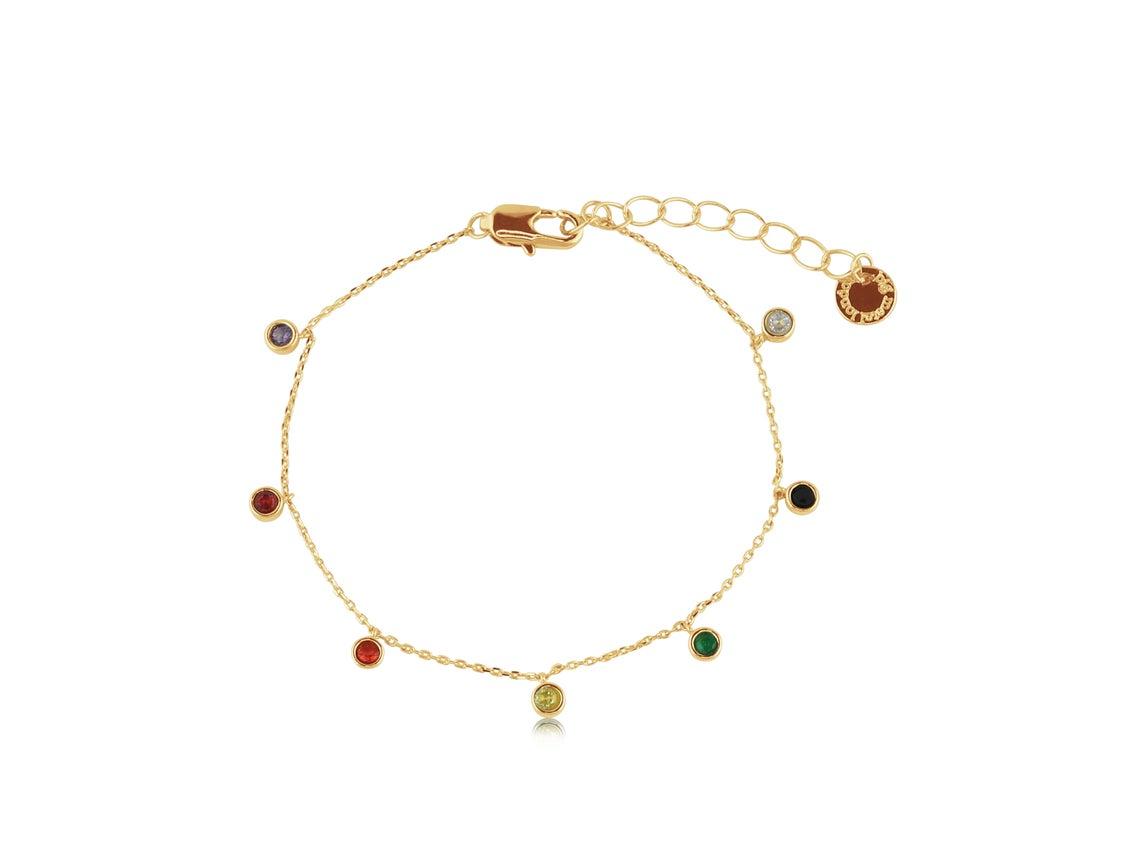 Iris Rainbow Stones Delicate Bracelet – Gold