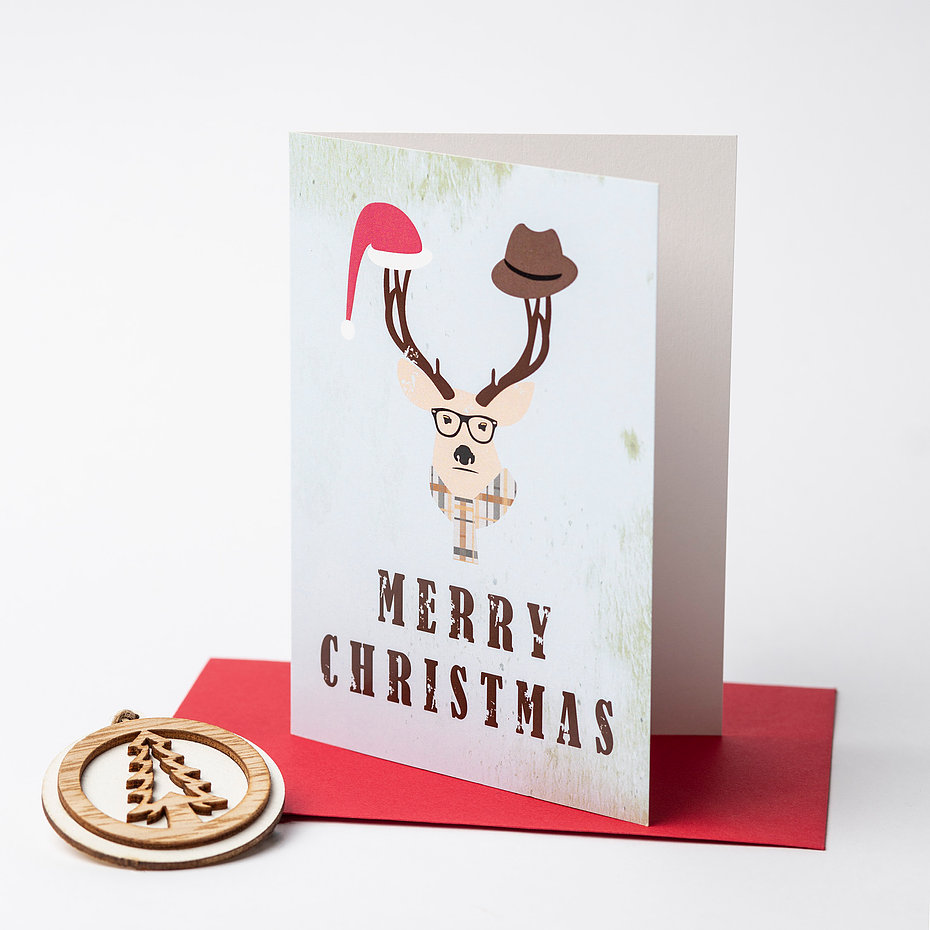 Hipster Deer – Merry Christmas Greeting Card – Case of 5